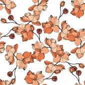 Vector orange orchids Wildflowers isolated on white Engraved ink art Seamless background pattern Wallpaper print texture