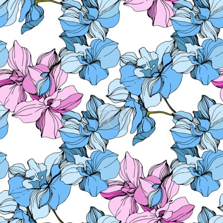 Vector Pink and blue orchids. Wildflowers isolated on white. Engraved ink art. Seamless background pattern. Wallpaper print texture.