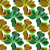 Vector green orchids Wildflowers isolated on white Engraved ink art Seamless background pattern Wallpaper print texture