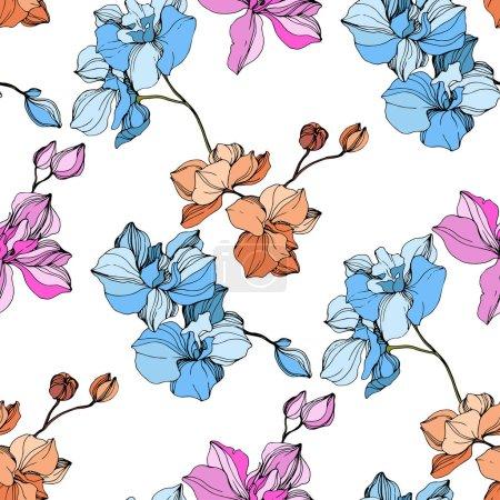 Illustration pour Orchidées de rose, bleues et orange de vecteur. Fleurs sauvages isolés sur blanc. Art d'encre gravé. Motif de fond transparente. Papier peint texture impression. - image libre de droit