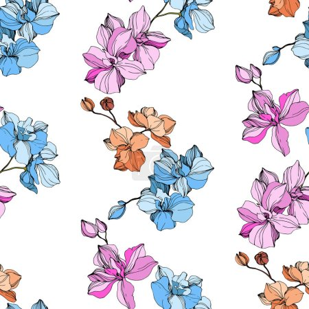 Illustration for Vector pink, blue and orange orchids. Wildflowers isolated on white. Engraved ink art. Seamless background pattern. Wallpaper print texture. - Royalty Free Image