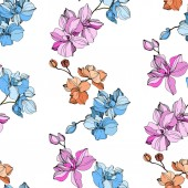 Vector pink blue and orange orchids Wildflowers isolated on white Engraved ink art Seamless background pattern Wallpaper print texture
