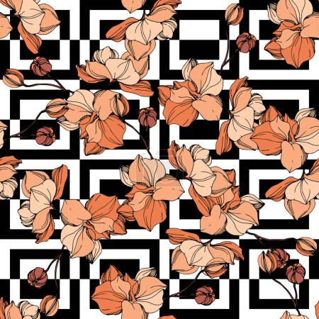 Illustration for Vector Orange orchids. Wildflowers on ornamental background. Engraved ink art. Seamless background pattern. Wallpaper print texture. - Royalty Free Image