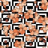 Vector Orange orchids Wildflowers on ornamental background Engraved ink art Seamless background pattern Wallpaper print texture