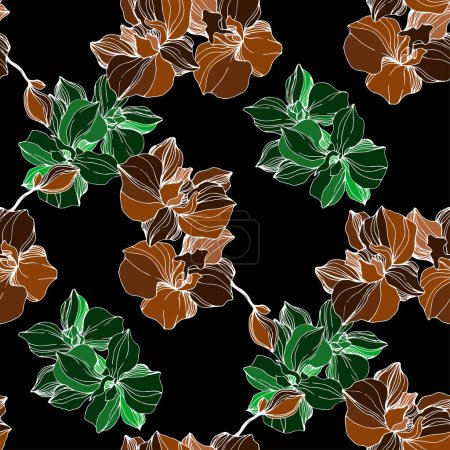 Illustration for Vector green and orange orchids. Wildflowers isolated on black. Engraved ink art. Seamless background pattern. Wallpaper print texture. - Royalty Free Image