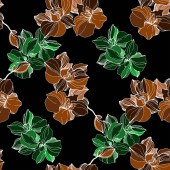 Vector green and orange orchids Wildflowers isolated on black Engraved ink art Seamless background pattern Wallpaper print texture