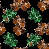 """Постер, картина, фотообои """"Вектор орхидеи зеленый и оранжевый. Полевые цветы, сложенные. Гравированные чернила искусство. Бесшовный фон узор. Обои для рабочего стола текстура и печати"""""""