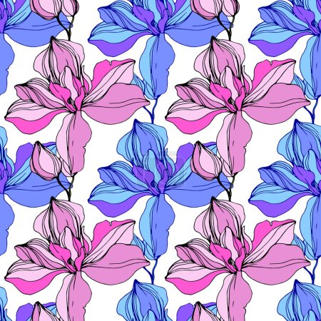 Illustration for Vector Pink and blue orchids. Wildflowers isolated on white. Engraved ink art. Seamless background pattern. Wallpaper print texture. - Royalty Free Image