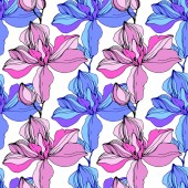 Vector Pink and blue orchids Wildflowers isolated on white Engraved ink art Seamless background pattern Wallpaper print texture