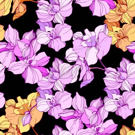 Illustration for Vector pink and orange orchids. Wildflowers isolated on black. Engraved ink art. Seamless background pattern. Wallpaper print texture. - Royalty Free Image