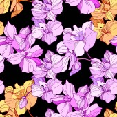 Vector pink and orange orchids Wildflowers isolated on black Engraved ink art Seamless background pattern Wallpaper print texture