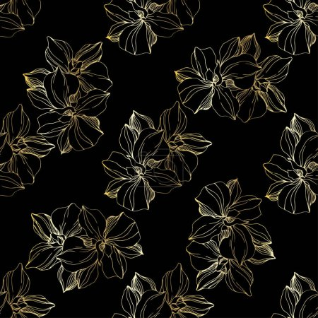 Illustration for Vector golden orchids. Wildflowers isolated on black. Engraved ink art. Seamless background pattern. Wallpaper print texture. - Royalty Free Image