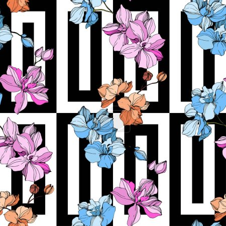 Illustration for Vector Orange, blue and pink orchids. Wildflowers on ornamental background. Engraved ink art. Seamless background pattern. Wallpaper print texture. - Royalty Free Image