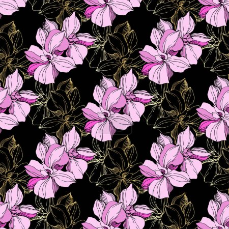 Illustration for Vector pink orchids. Wildflowers isolated on black. Engraved ink art. Seamless background pattern. Wallpaper print texture. - Royalty Free Image