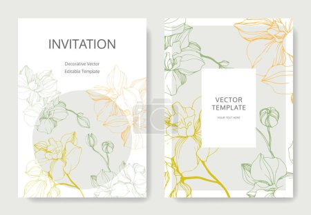 Illustration for Vector orchids. Engraved ink art. Wedding background cards with decorative flowers. Invitation cards graphic set banner. - Royalty Free Image