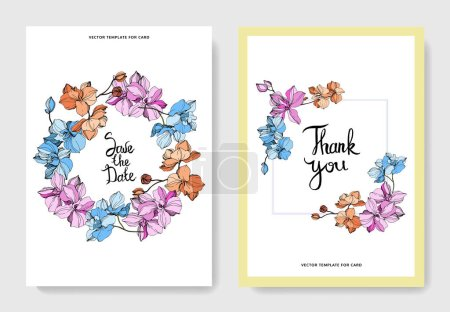 Illustration for Vector orchids. Wildflowers. Engraved ink art. Wedding cards. Thank you, save the date invitation cards graphic set banner. - Royalty Free Image