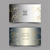 Vector orchids Engraved ink art Wedding background cards with decorative flowers Invitation cards graphic set banner