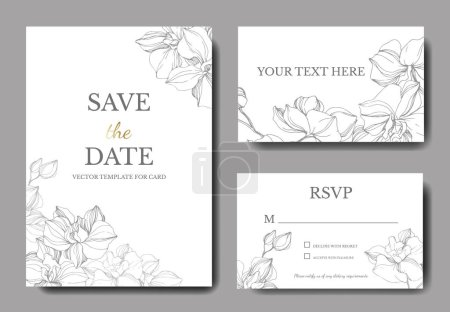 Illustration for Vector orchids. Engraved ink art. Wedding background cards with decorative flowers. Thank you, rsvp, invitation cards graphic set banner. - Royalty Free Image
