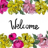 Vector Pink and yellow peonies Wildflowers isolated on white Engraved ink art Floral frame border with 'welcome' lettering