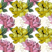 Vector Pink and yellow peonies Wildflowers isolated on white Engraved ink art Seamless background pattern Wallpaper print texture