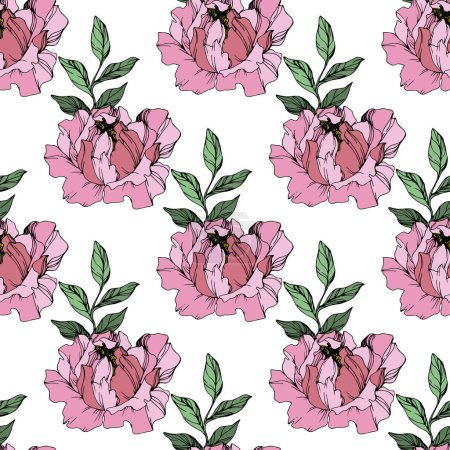 Illustration for Vector Pink peonies. Wildflowers isolated on white. Engraved ink art. Seamless background pattern. Wallpaper print texture. - Royalty Free Image