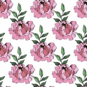 Vector Pink peonies Wildflowers isolated on white Engraved ink art Seamless background pattern Wallpaper print texture