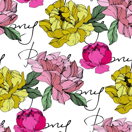 Illustration for Vector Pink and yellow peonies. Wildflowers isolated on white. Engraved ink art. Seamless background pattern. Wallpaper print texture with 'peony' lettering - Royalty Free Image