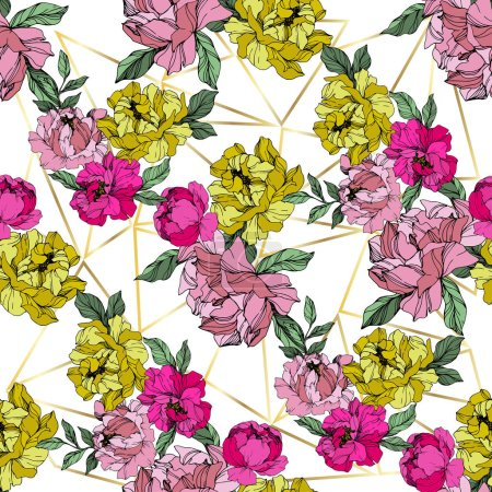Illustration for Vector Pink and yellow peonies. Wildflowers isolated on white. Engraved ink art. Seamless background pattern. Wallpaper print texture. - Royalty Free Image