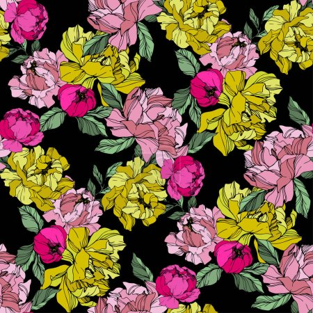 Illustration for Vector Pink and yellow peonies. Wildflowers isolated on black. Engraved ink art. Seamless background pattern. Wallpaper print texture. - Royalty Free Image