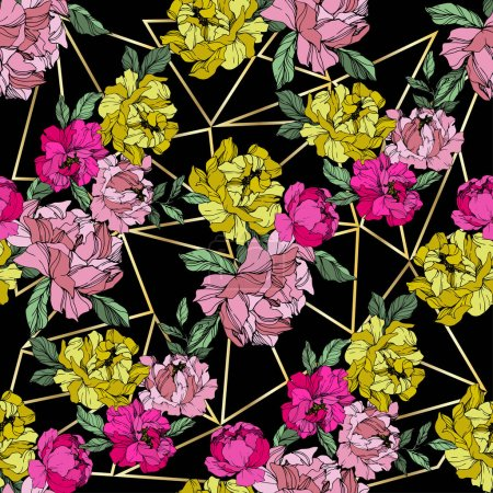 Illustration for Vector Pink and yellow peonies. Wildflowers on ornamental background. Engraved ink art. Seamless background pattern. Wallpaper print texture. - Royalty Free Image