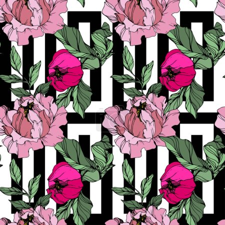 Illustration for Vector Pink peonies. Wildflowers on ornamental background. Engraved ink art. Seamless background pattern. Wallpaper print texture. - Royalty Free Image