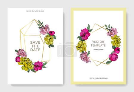 Illustration for Vector pink and yellow peonies. Engraved ink art. Save the date wedding invitation cards graphic set banner. - Royalty Free Image