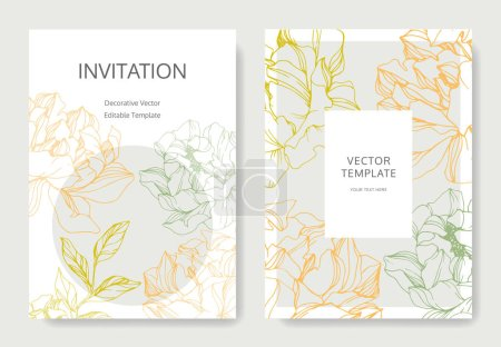 Illustration for Vector peonies. Engraved ink art. Wedding background cards with decorative flowers. Invitation cards graphic set banner. - Royalty Free Image