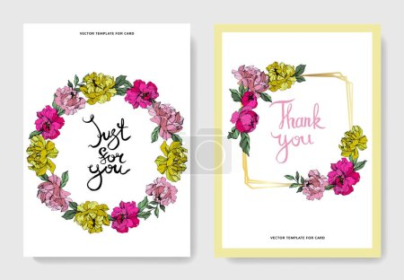 Illustration for Vector pink and yellow peonies. Engraved ink art. Wedding cards with 'thank you' and 'just for you' lettering. Graphic set banner. - Royalty Free Image