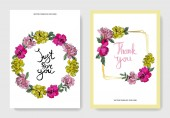 Vector pink and yellow peonies Engraved ink art Wedding cards with 'thank you' and 'just for you' lettering Graphic set banner