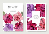 Vector pink and purple peonies Engraved ink art Wedding background cards with decorative flowers Invitation cards graphic set banner