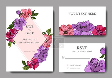 Illustration for Vector pink and purple peonies. Engraved ink art. Wedding background cards with decorative flowers. Thank you, rsvp, invitation cards graphic set banner. - Royalty Free Image