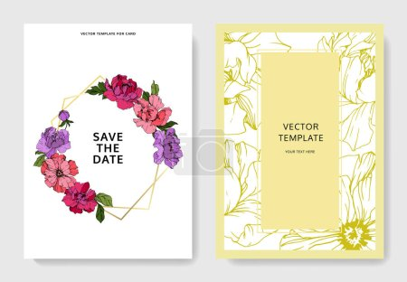 Illustration for Vector pink and purple peonies. Engraved ink art. Save the date wedding invitation cards graphic set banner. - Royalty Free Image