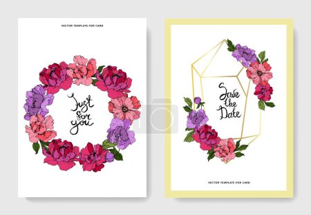 Illustration for Vector pink and purple peonies. Engraved ink art. Wedding cards with 'thank you' and 'just for you' lettering. Graphic set banner. - Royalty Free Image