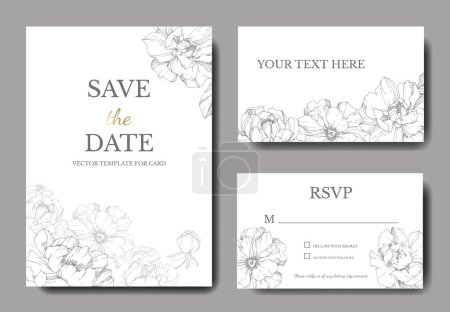 Illustration for Vector peonies. Engraved ink art. Wedding background cards with decorative flowers. Thank you, rsvp, invitation cards graphic set banner. - Royalty Free Image