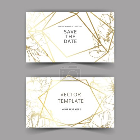 Illustration for Vector golden peonies. Engraved ink art. Save the date wedding invitation cards graphic set banner. - Royalty Free Image