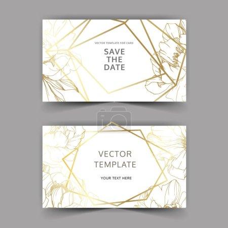 Illustration pour Pivoines d'or vectorielles. Encre gravée. Enregistrer la date cartes d'invitation de mariage graphique définir bannière . - image libre de droit