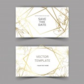 Vector golden peonies Engraved ink art Save the date wedding invitation cards graphic set banner