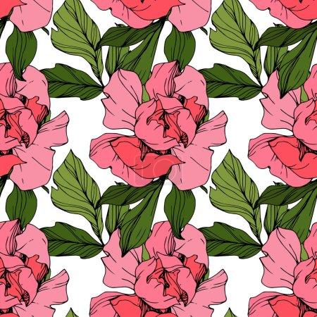 Illustration pour Pivoines roses vectorielles. Fleurs sauvages isolées sur blanc. Encre gravée. Modèle de fond sans couture. Texture d'impression papier peint . - image libre de droit