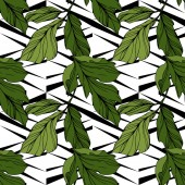 Vector green leaves on ornamental background Engraved ink art Seamless background pattern Wallpaper print texture