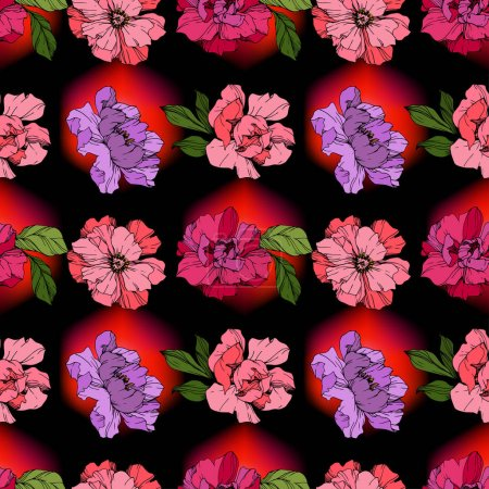Illustration for Vector Pink and purple peonies on black background. Engraved ink art. Seamless background pattern. Wallpaper print texture. - Royalty Free Image