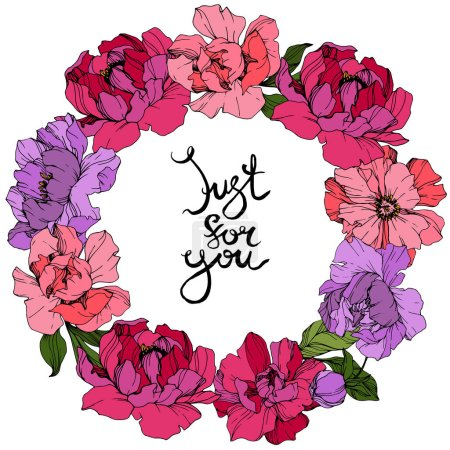Illustration for Vector Pink and purple peonies. Wildflowers isolated on white. Engraved ink art. Floral frame border with 'just for you' lettering - Royalty Free Image
