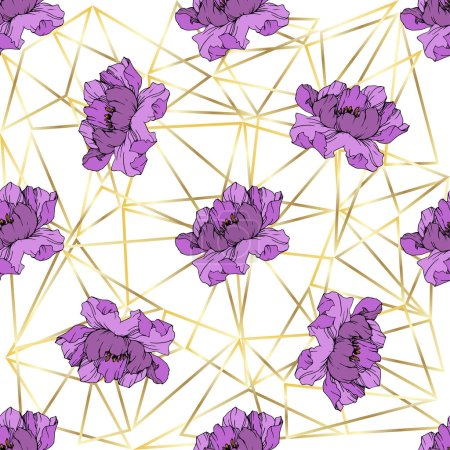Illustration for Vector purple peonies on ornamental background. Engraved ink art. Seamless background pattern. Wallpaper print texture. - Royalty Free Image
