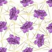Vector purple peonies on ornamental background Engraved ink art Seamless background pattern Wallpaper print texture