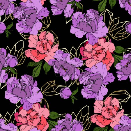 Illustration for Vector Pink and purple peonies on ornamental background. Engraved ink art. Seamless background pattern. Wallpaper print texture. - Royalty Free Image